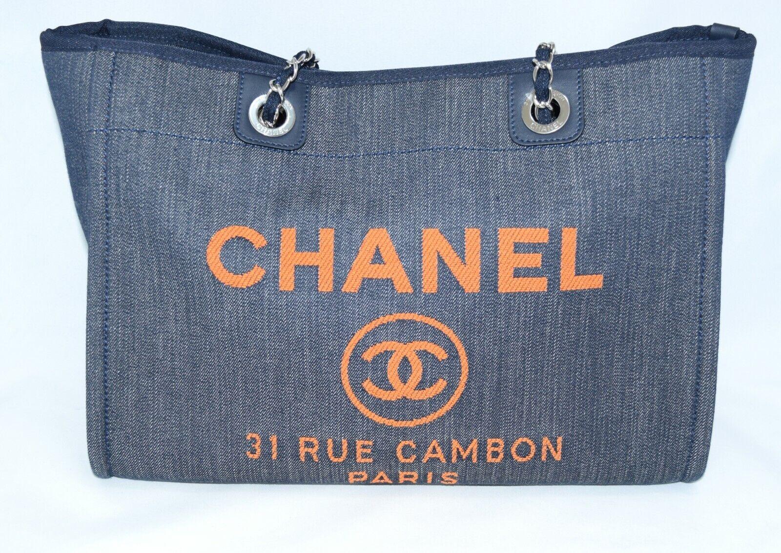 Chanel deauville sac bandoulière bleu denim chaîne sac à main neuf r19