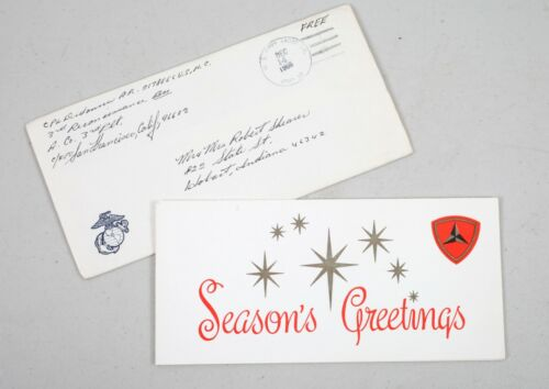 1966 Third Division US Marine Corp Christmas Card Vietnam War with Envelope