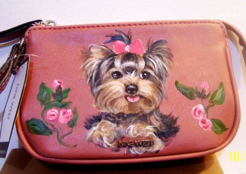 Yorkie Girl hand painted Nine West wristlet mini bag awesome