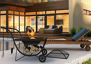 Outdoor Fire Pit BBQ Grill Fireplace Garden Patio Trolley Charcoal Barbecue Bowl