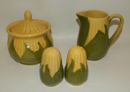 Vintage Shawnee Corn King Lidded Sugar, Creamer, Salt & Pepper Shaker Set Lot