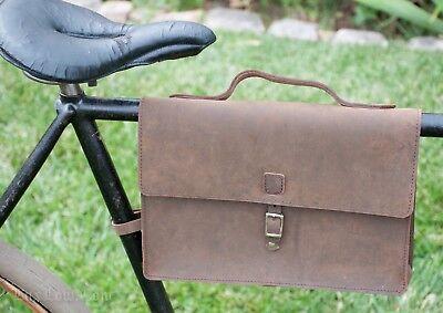 Vintage Brown Leather Bicycle Frame BRIEFCASE BAG Tool Pouch Schwinn Bike Basket