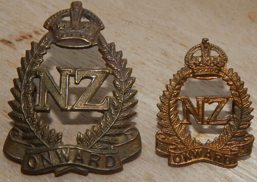 2nd New Zealand Expeditionary Force OVERSEAS SERVICE Cap & Collar Badge 2NZEF