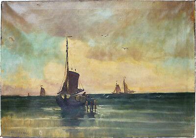 Raphael Oskar Unverdross Ölgemälde Öl Leinwand Meer Schiffe Boote 94 x 66 cm