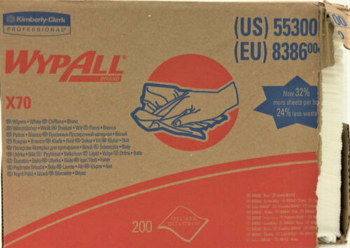 "Kimberly Clark Wypall X70 Wipers, Brag Box, 200/Box, 12.5"" x 16.8"", White, 55300"