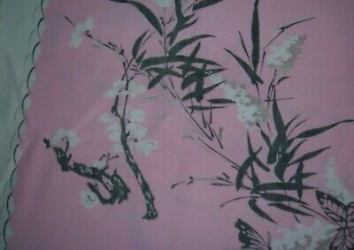 VINTAGE TABLECLOTH FLORAL PINK BUTTERFLIES