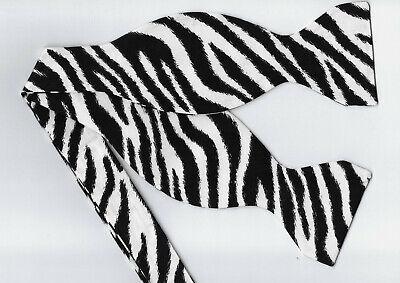 Zebra Print Bow tie / Black & White Zebra Stripes / Exotic Self-tie Bow