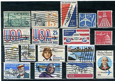USA Selection 17 used Air mail stamps