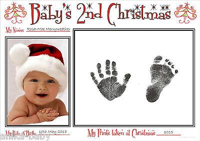 A4 Baby's Second Weihnachten Hand Drucke Fußabdrücke Set Babys 2nd Geschenk