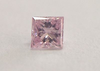 GIA Certified Natural Fancy Purplish Pink Princess Shape Diamond 0.05 carat