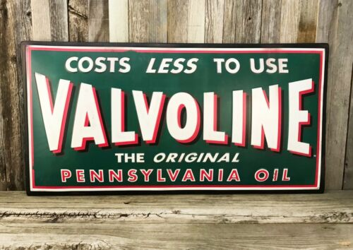 "Valvoline Motor Oils Embossed Rustic Large 26"" Metal Tin Sign Garage Vintage New"
