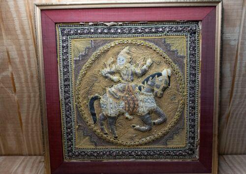 "Burmese Kalaga Embroidery Tapestry Thai Dragon Horse Warrior Glass Beads 19"""