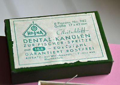 antike Hona Dental Kanülen zur Fischer Spitze Verpackung Schachtel Flacons