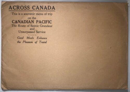2 Vintage Menus, Canadian Pacific Railway, Original Envelope,  Graphics, 1940s