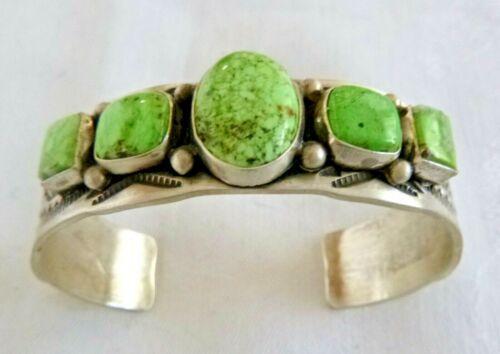 Navajo Rich Enricuez Sterling Silver Cuff Bracelet Rare Pixie Turquoise 50.8 Grm
