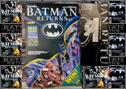 NEVER OPENED RALSTON BATMAN RETURNS CEREAL BOX GLOW IN THE DARK STICKER INSIDE