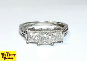 KRN 3-Stone Princess Cut Diamond Engagement Ring 14k White Gold Size 6¼ 1+ CT TW