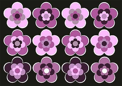 12 Stück ca. 3,5 cm Retro Retrostyle Blumen Blume Aufkleber AN1535