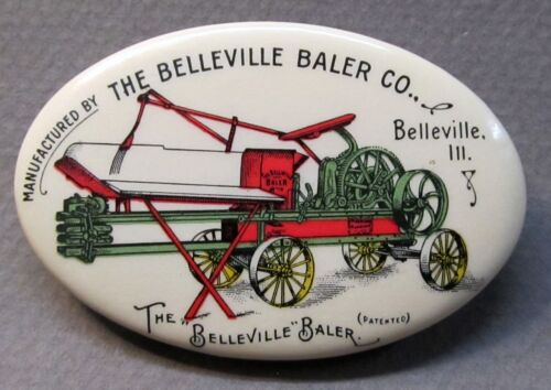 rare c. 1910 THE BELLEVILLE BALER CO. Illinois farm implement pocket mirror *