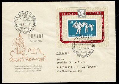 Schweiz Bl. 14 a. Schmuck-Brief LUNABA und SST 5.10.51 n. Polen