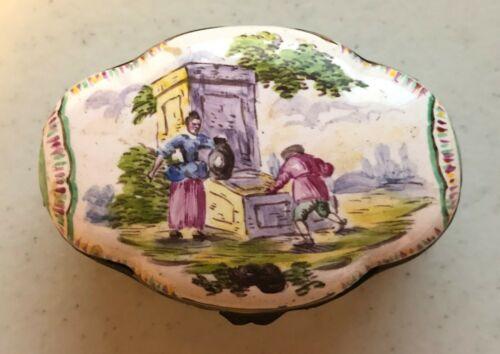 Antique French Veuve Perrin Enamel Snuff Trinket Box
