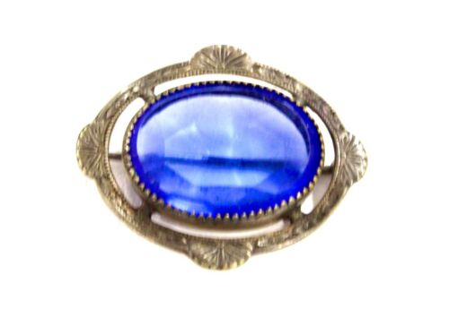 Victorian brooch pin antique 100 years old Petite Cobalt Blue Glass Oval Facets