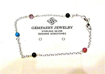 Sterling Silver Natural AMETHYST Gemstone Beaded Anklet...Handmade USA