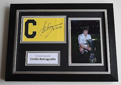 Emilio Butragueno SIGNED FRAMED Captains Armband A4 Display Real Madrid COA