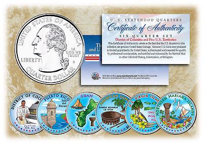 Us Territories Quarters - 2009 DC & US TERRITORIES Quarters COLORIZED * 6-Coin Set * STATEHOOD w/Capsules