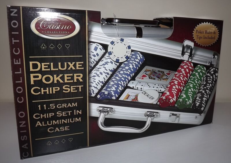 NEW CASINO COLLECTION DELUXE POKER CHIP SET WITH CARDS DICE & ALUMINUM CASE
