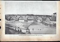 Rimini Xilografia Il Ponte Romano - Le Cento Citta' D' Italia 1888 -  - ebay.it