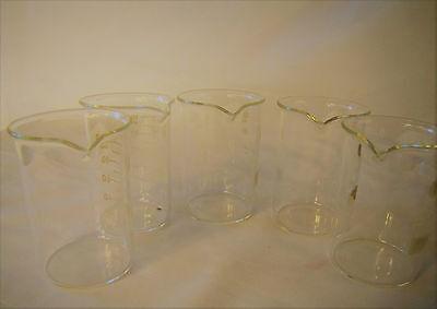Set Of 5 Glass Lab Beaker Low Form 100 Ml 3.34 Oz Shot New