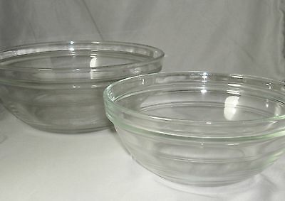 "Duralex 2 LYS Clear Glass Mixing Bowls 8"" & 6.75"" Concentric Ring France (#C4)"