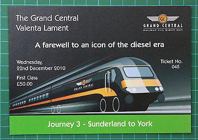 Grand Central HST Valenta Lament ticket 2010 FIRST, trip 3 Sunderland to York
