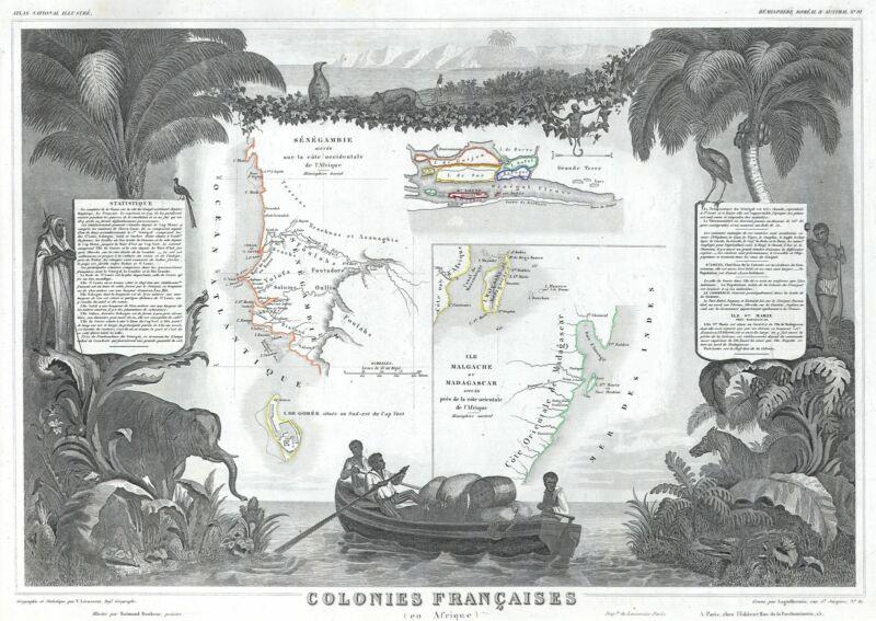 1848 Levasseur Map of Senegal, Gambia and Madagascar