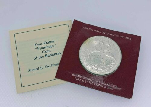 1973 Franklin Mint Bahamas $2 Two Dollar Sterling Silver Coin  - Free Ship US