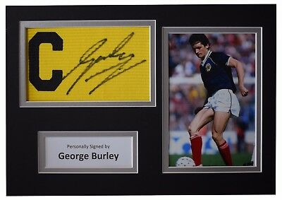 George Burley Signed Captains Armband A4 photo display Scotland Football COA