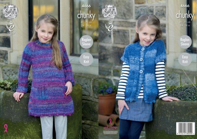 King Cole 4666 Knitting Pattern Girls Tunic and Cardigan in Corona Chunky