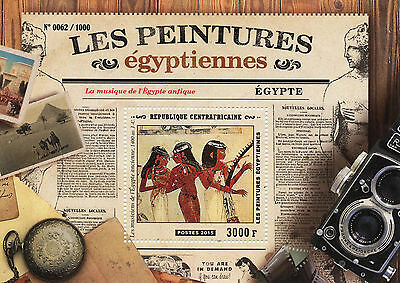 Central African Republic 2015 MNH Ancient Egyptian Paintings 1v S/S Musicians