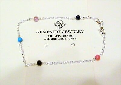 Sterling Silver Natural LAPIS Gemstone Beaded Link Anklet...Handmade USA