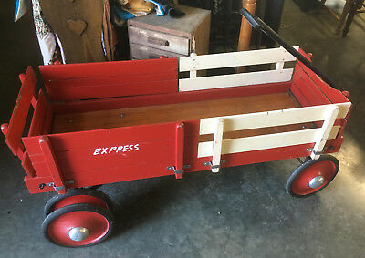 "Vintage 4FT Wood Express Dual Rear Wheel Wagon toy pull 48"" dually wooden"