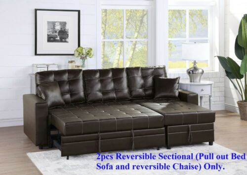 Modern Reversible Sectional Pull Out Bed Plywood Tufted Couch Cushion Espresso