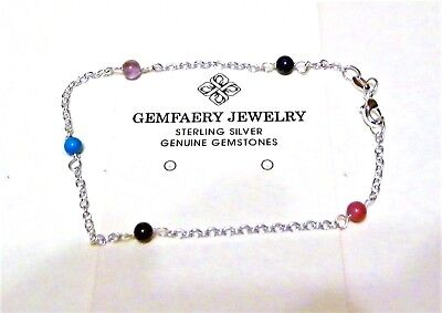 Sterling Silver Natural CARNELIAN Beaded Gemstone Anklet...Handmade USA
