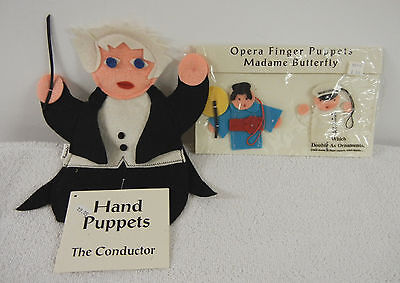 Madame Butterfly and Opera Conductor : Vintage Felt Puppets