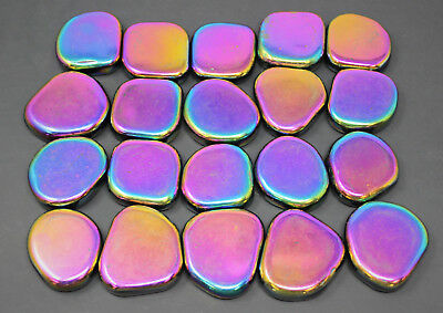 1/2 lb XL MAGNETIC Rainbow Hematite Palm Worry Stone (Crystal Shiny Magnet) 8 oz