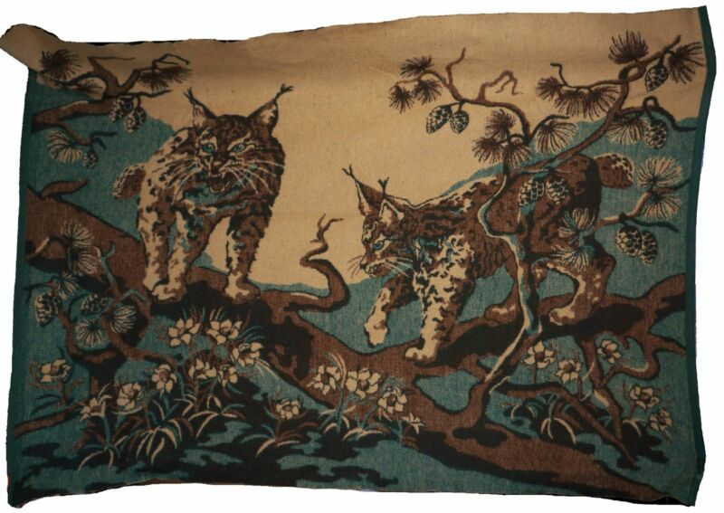 Antique Wool Blanket 1920s Scenic Lynx in Tree Wall Hanging Sleigh Lap Cover