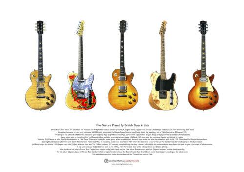 British Blues Guitars ART POSTER A3 size