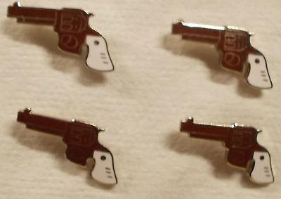 Lot of 10  Pistol Gun Revolver Lapel Pins & Hat Pins or Tie Tacs