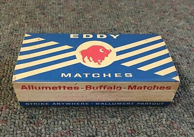 BOX FULL Vintage EDDY WOODEN MATCHES w/ BUFFALO Unused