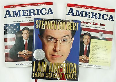 Stephen Colbert I Am America Jon Stewart Hardcover Teacher Edition Book Lot
